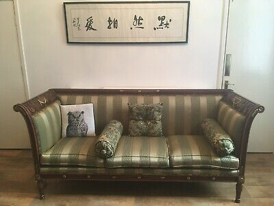 Louis XV Style Baroque Sofa Carved Solid Wood And Silk Upholstered High Back