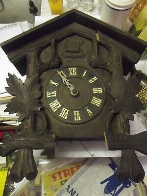 Large German Black Forest Bird Carved Mahogany 8 Day Cuckoo Clock