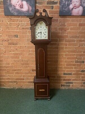 New England Clock Co. Mahogany Inlaid Grandmother Clock