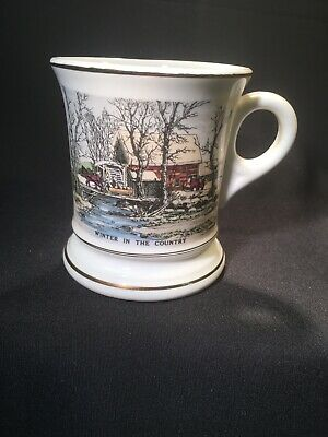 Vintage Currier Ives Ceramic Winter in the Country Gold Trim Mustache Cup Mug