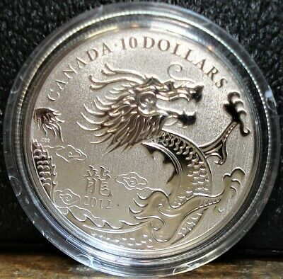 2012 Silver Canadian 10 dollar 1/2 ounce Specimen Proof Coin, Year of the Dragon