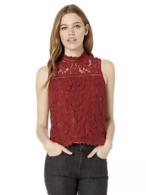 NWT Jack By BB Dakota Red Floral Maroon Lace Crop Top Up To Here Sz XS $68