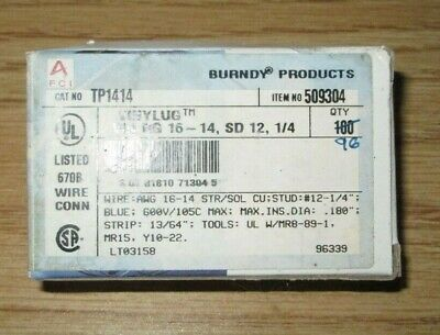 "Burndy TP1414 Terminal Ring Tongue 16-14 AWG 1/4"" Stud Vinyl Insulated Box of 96"