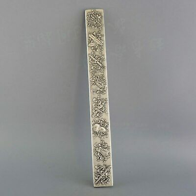 Collect China Old Miao Silver Carve Flower & Gourd Bring Luck Paperweight Statue