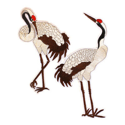 Crane Embroidery Sew Iron On Patch Bag Dress Clothes O5N1 Sticker Deco G9V9