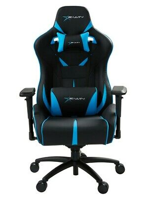 EWin Gaming Chair Flash Series With Head and Back Pillow (Black and Blue)