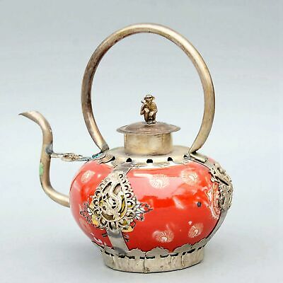 Collect Old Miao Silver Armour Porcelain Carve Myth Dragon & Monkey Luck Tea Pot
