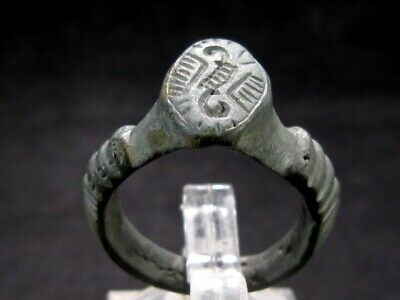 Outstanding Large Byzantine  Billon Seal Ring+++As Found+++Top Decoration+++