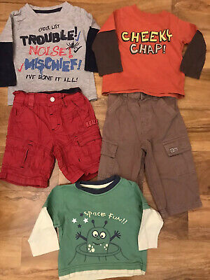 Boys Shorts T Shirt Bundle X 5 Age 9/12 Months Next Marks And Spencer's
