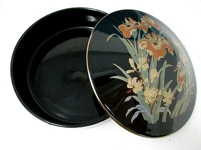 Black and Gold Trinket Dish with Lid Made in Japan Vintage Flowers and Bird 6""