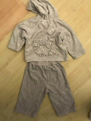 Light Grey Velour Tracksuit With Hood Age 6/9 Months Old