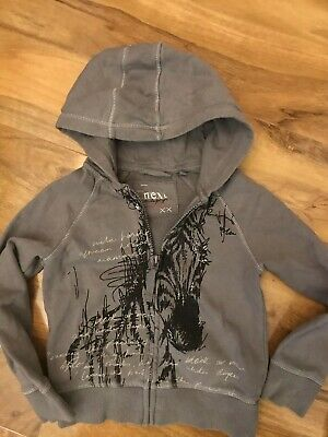 Next Girls Grey Hoody With Silver Writing And Black Graphic Age 5