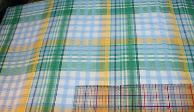 Vintage Blue Green Yellow Seersucker Cotton Fabric Plaid NOS