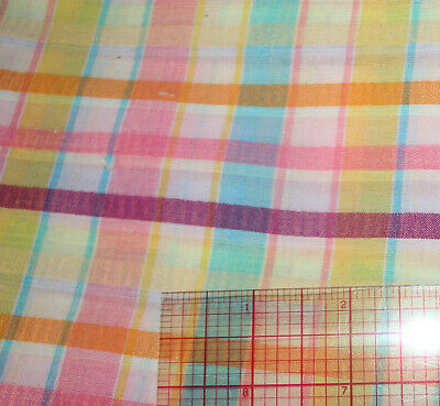 Vintage Pastel Rainbow Seersucker Cotton Fabric Plaid Pink Purple Yellow Blue