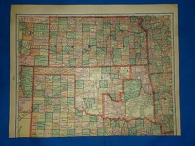 Vintage 1909 Tunison Atlas Map KANSAS - OKLAHOMA  INDIAN TERRITORY Old Original