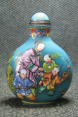 Chinese Glass Delicate Hand Painted Women And Children Snuff Bottle=---