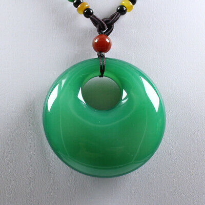 Certified Natural Agate Chalcedony Green Jade Necklace Pendant 平安扣 zz704