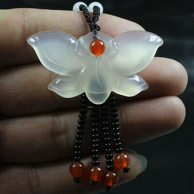 Certified Natural Agate Chalcedony Ice White Jade Necklace Pendant Butterfly 360