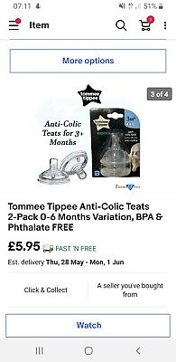 Tommee Tippee Anti-Colic Teats 2-Pack 3 Months Variation, BPA & Phthalate FREE