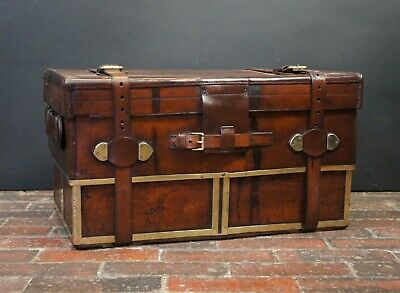 Early Victorian Expandable Leather Campaign Trunk Day & Son The Strand London