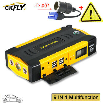 High Power 82800mAh Car Jump Starter Cable Battery Charger Power Bank 4USB LED