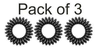 Hair Bands Telephone Wire Styled PACK OF 3 Genuine KODO SPIRAL Hair Bobble BLACK