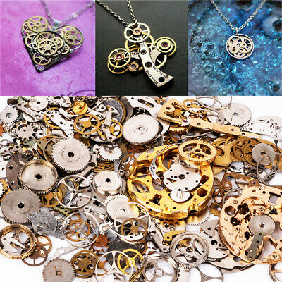 50 Metal Silver Gold Steampunk Cogs Gears Clock Hand Charm Jewellery Watch Part↙