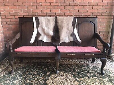 Period Antique 1760 George III Four Panel Great Hall Oak Settle