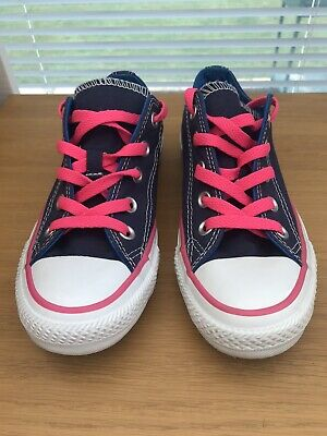 Womens Girls Navy Blue Pink Converse All Star UK Size 3 Excellent Condition