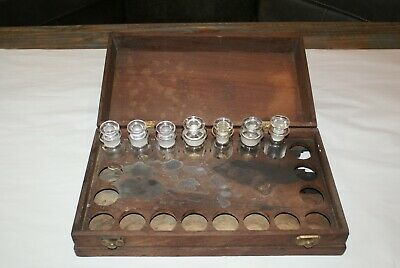 Antique Pharmacy Apothecary Medicine Bottles, 7 Bottles with Wood Case