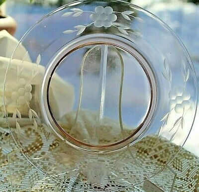 Vintage Pink Etched Glass Plate