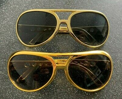 2 Pairs Novelty Gold Elvis Style Aviator Fancy Dress Accessory Sunglasses