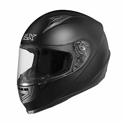 GLX GX11-MB-L Matte Black Large Compact Lightweight Full Face Motorcycle Street