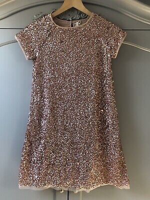 Girls Pink Sparkly Sequinned Next Dress Age 12 Years