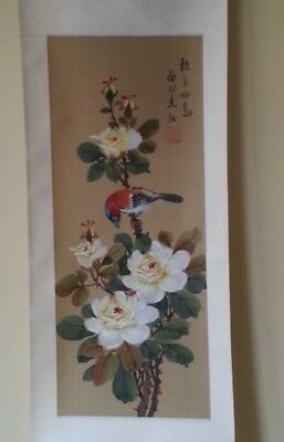 Japanese Scroll Hand Painted On Paper And Silk
