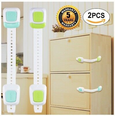 NEW 2 Pack Child Baby Safety Locks for Door Cabinets Latches Drawer Refrigerator