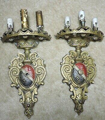 Vintage pair Cast Brass,Bronze Wall Sconce, Deco Electric Candle For restoration