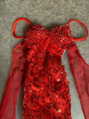 """Tonner 22"""" AMERICAN MODEL OOAK Red Micro-Sequin Gown ONLY - No Shoes, Mint!"""