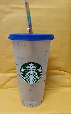 Starbucks 2020 Pride Confetti Color Changing Reusable Cup with Rainbow Straw.