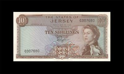 1963 STATES OF JERSEY QEII 10 SHILLINGS **Consecutive 1 of 2** (( GEM UNC ))
