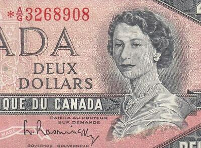 """1954 Bank Of Canada Qeii $2 **Star Note** """"A/G"""" (( Ef ))"""