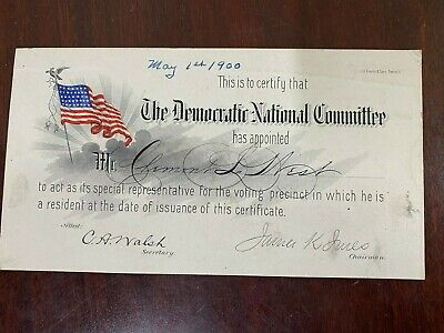 Antique Document 1900s Democratic National Committee Voting Certificate USA