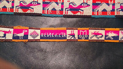 Two 1960s Bolivian Fajas South American Textile Belts Anthropomorphic with words