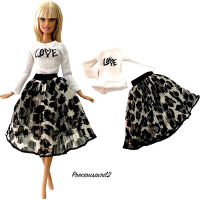 New Barbie doll clothes 2 piece outfit pleated skirt jumper winter clothing