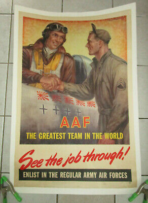 Original Wwii Us Army Air Force 1945 Recruiting War Poster