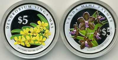 2007 Heritage Orchids Of Singapore Silver Proof Set Of 2 5$ Coins