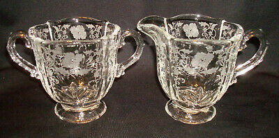 Vintage Fostoria Glass Shirley 331 Etching 2496 Baroque Creamer & Sugar Bowl Set