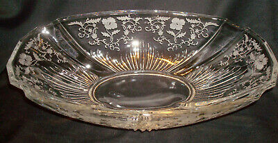 "Vintage Fostoria Glass Shirley #331 Etching 2545 Flame 12 ½"" Oval Console Bowl"