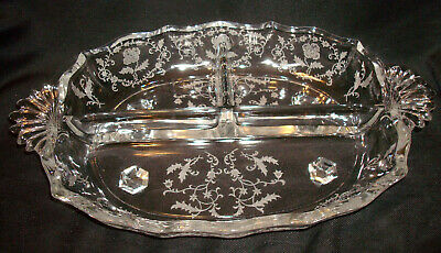 Vintage Fostoria Glass Shirley #331 Etching 2496 Divided 3 Part Relish Bowl Dish