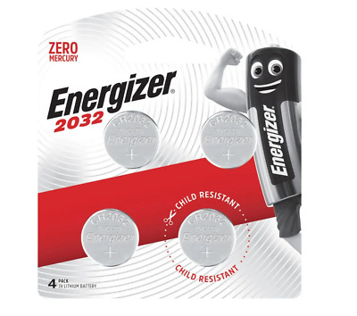 Energizer 2032 - 4 PACK 3V Lithium Coin/Button Cell Batteries  Zero Mercury